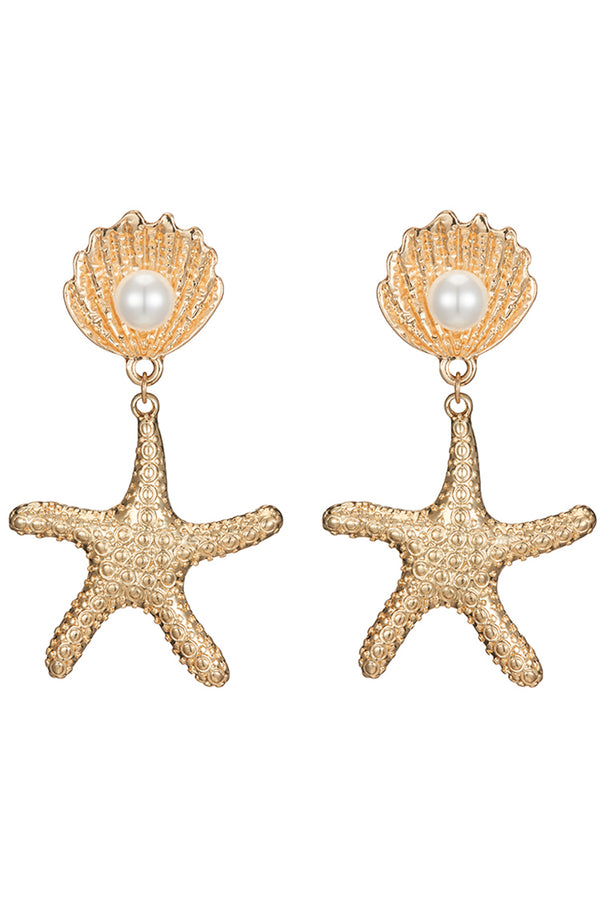 Lolglas Starfish Pendant Stud Earrings