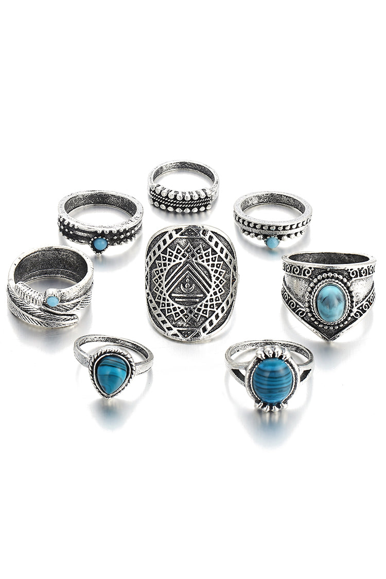 Lolglas 8Pcs Boho Faux Gem Rings Set