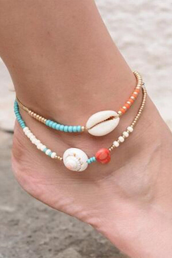 2-pieces Shell Decor Beaded Anklet Chain