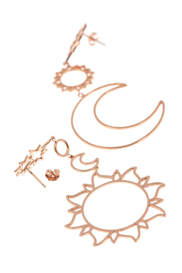 Lolglas Simple Moon & Sun Stud Earrings