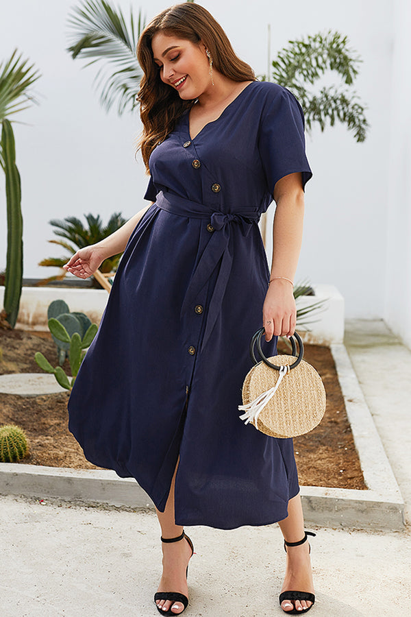 Lolglas Curvy Girls Buttons Summer Dress