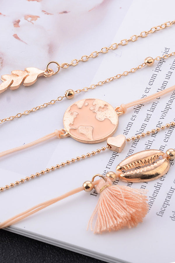 Lolglas 5Pcs Tassels Map Shape Bracelet Set