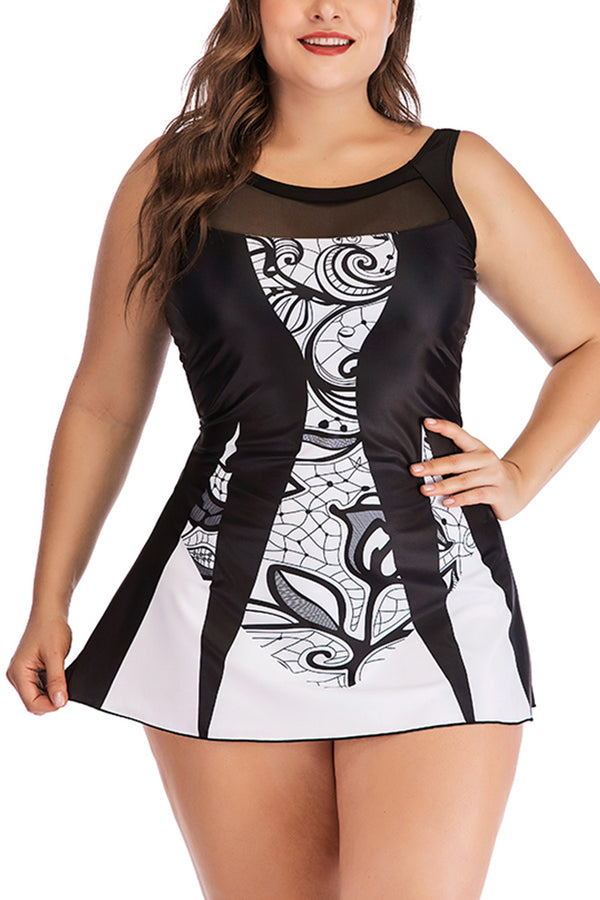 Lolglas Plus Size Hollow Out Back Printed Swimdress