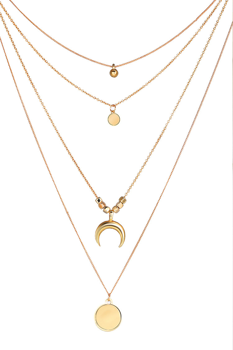 Lolglas Geometric Layered Mon&Disc Alloy Necklace