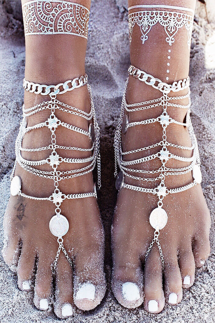 Lolglas Bohemian Layers Coin Beach Toe Anklet