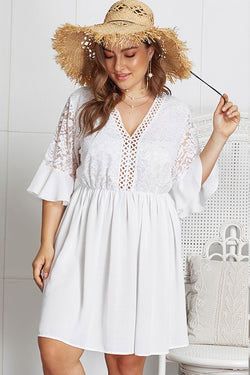 Lolglas Ruffles Lace Summer Dress