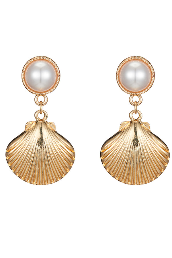 Lolglas Golden Shell Aolly Stud Earrings