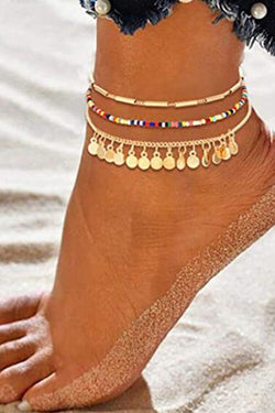 3-pieces Disc Pendant Beaded Anklet Chain