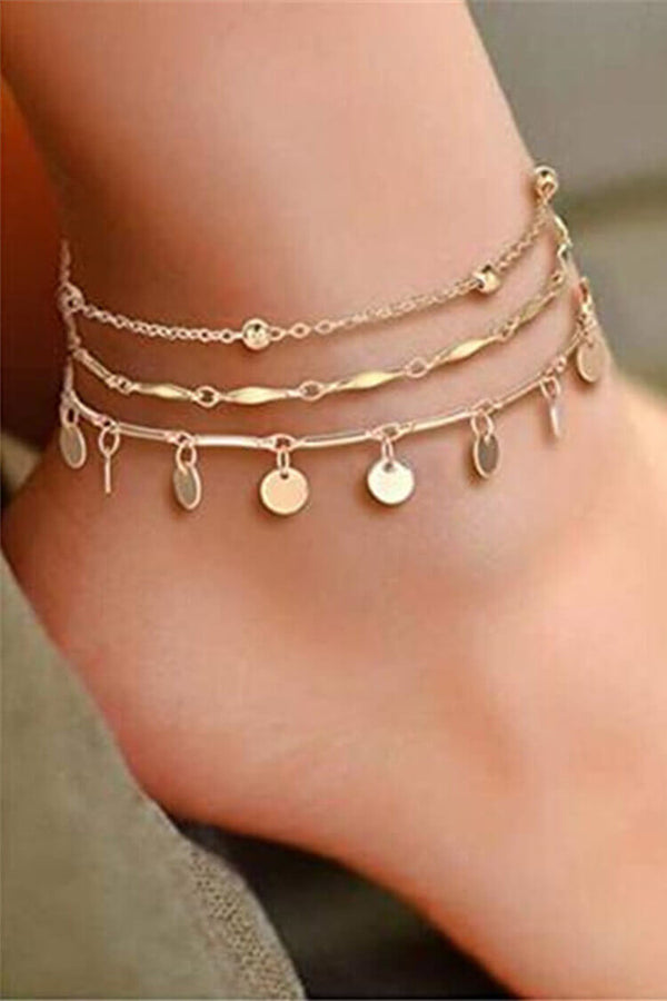 3-pieces Disc Pendant Decor Anklet Chain