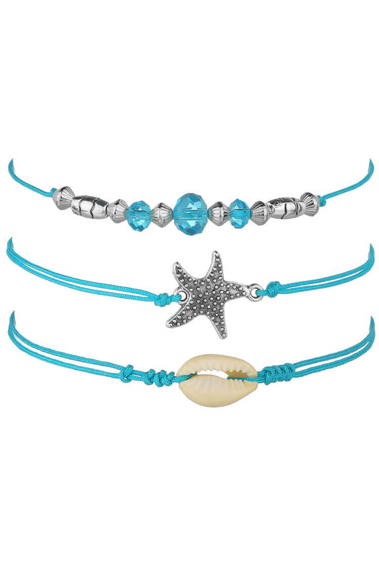 3-pieces Starfish & Shell Anklet Chain