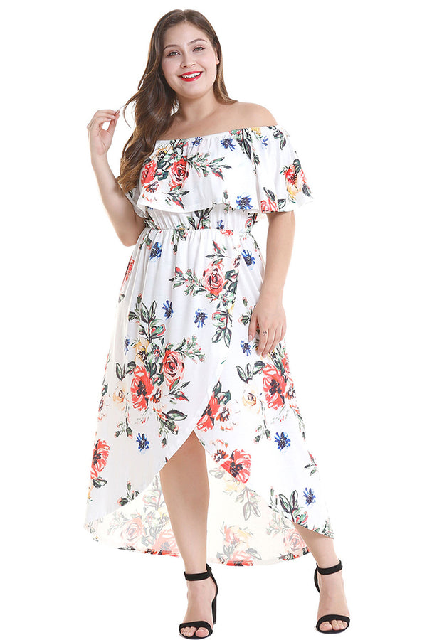 Lolglas Plus Size High Low Off-the-shoulder Maxi Dress