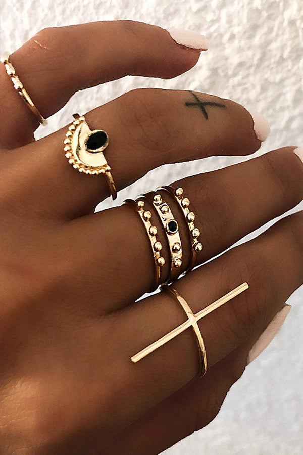 Lolglas 6Pcs Bohemian Geometric Alloy Rings Set