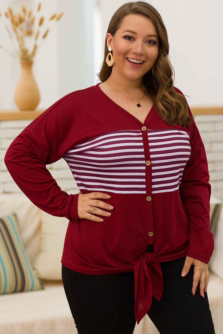 Lolglas Plus Size Stripe Printed Knotted Top