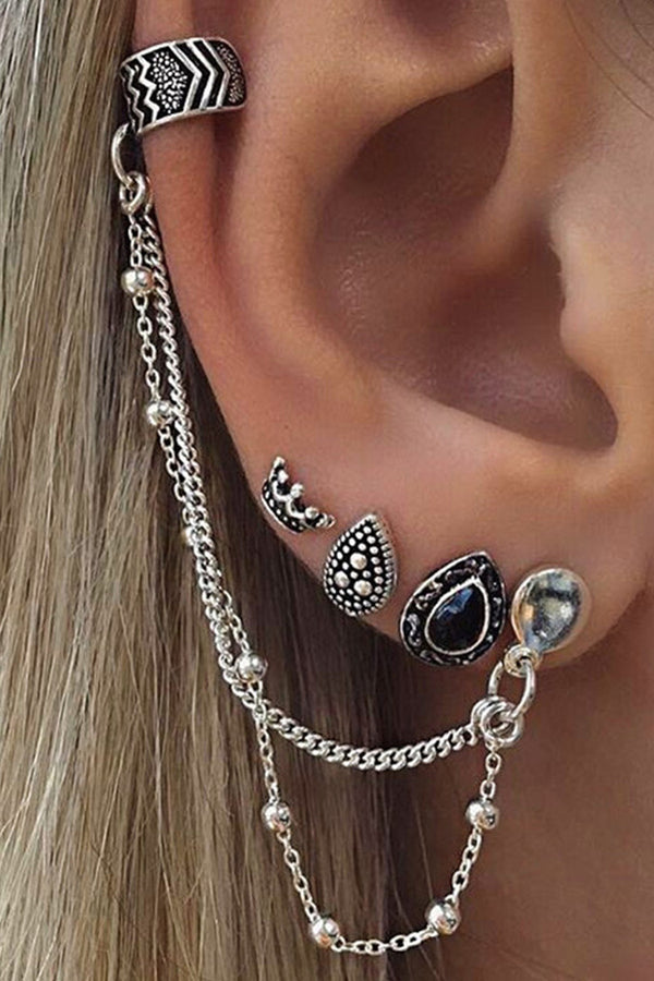 4-piece Botemian Style Crown&Drip Chain Earring Set