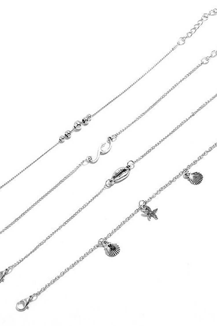 4 Pieces Simple Waves Anklet Set