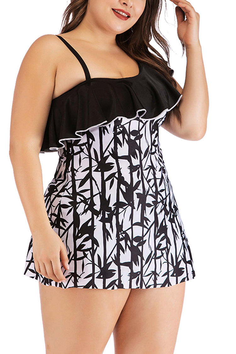 Lolglas Plus Size One Shoulder Ruffles Printed Swimdress