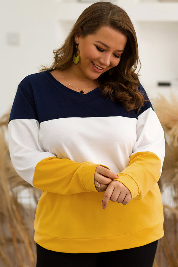 Lolglas Plus Size Color Block Sweatshirt For Autumn