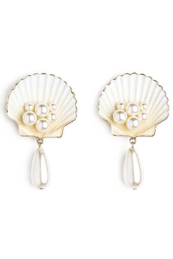 Lolglas Shell & Pearl Pendant Earrings