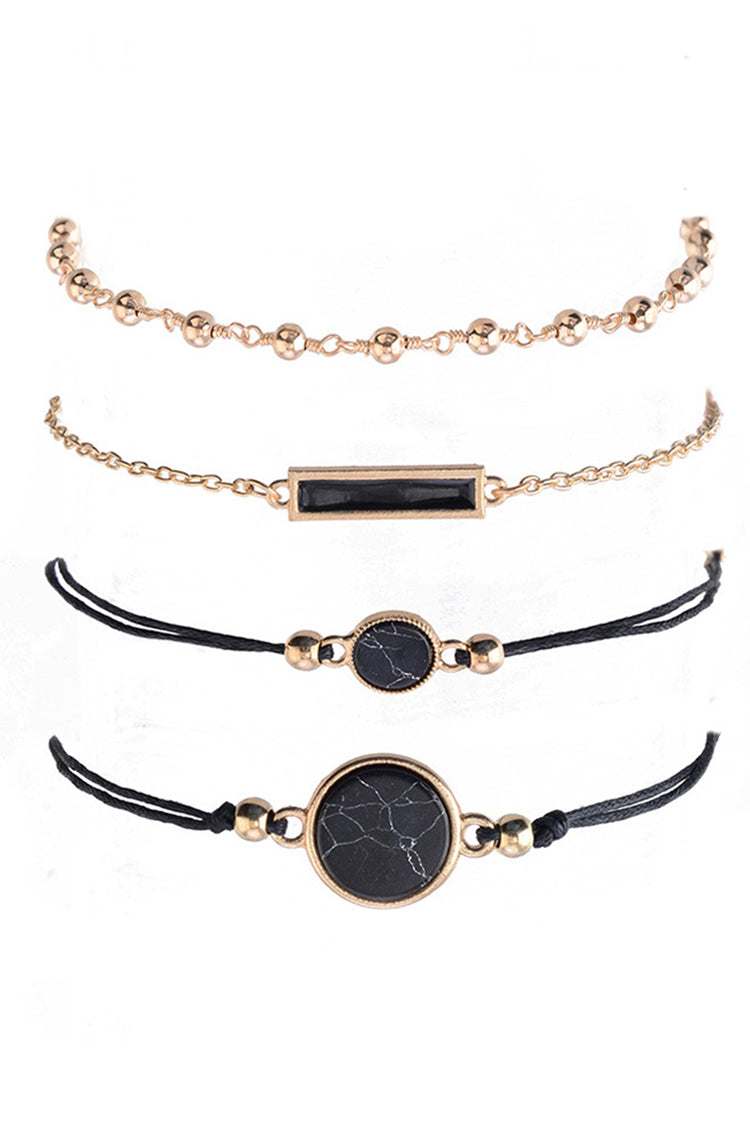 Lolglas 4Pcs Faux Gem Alloy Bracelet Set