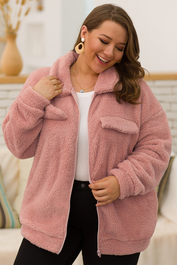 Lolglas Plus Size Coral Fleece Outerwear - Pink