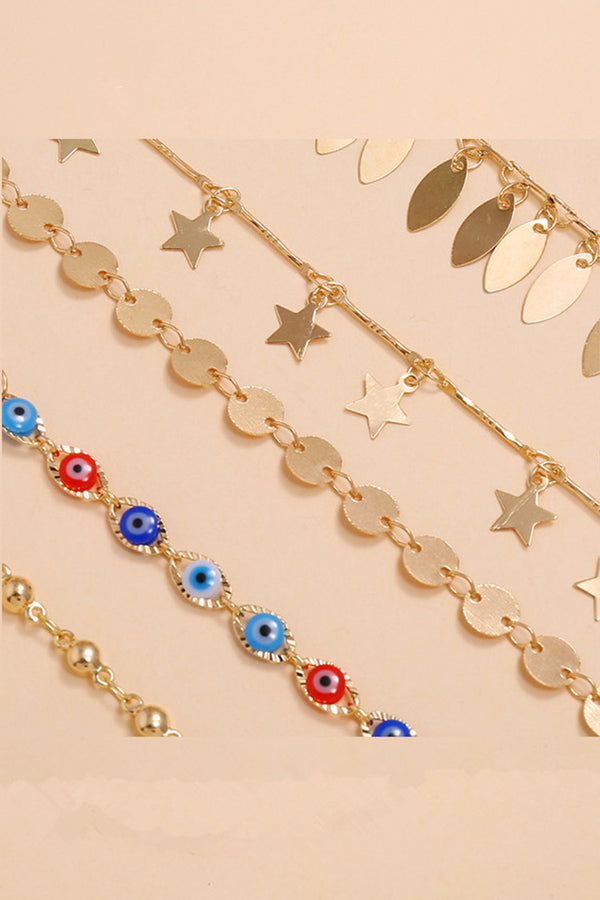 5-piece Boho Devil Eye Anklet Chain