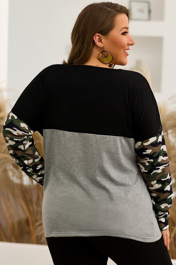 Lolglas Plus Size Camouflage Colorblock Casual Top