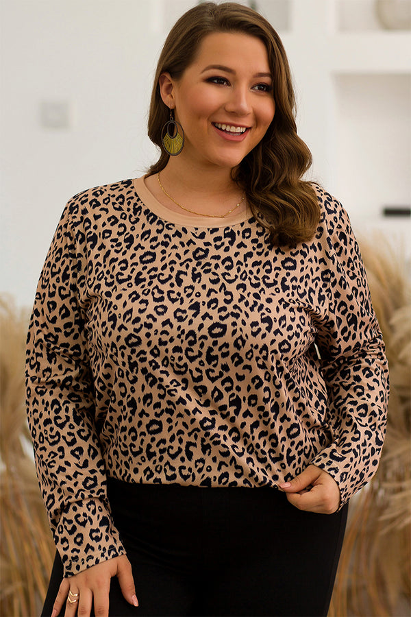 Lolglas Plus Size Leopard Print Casual Top