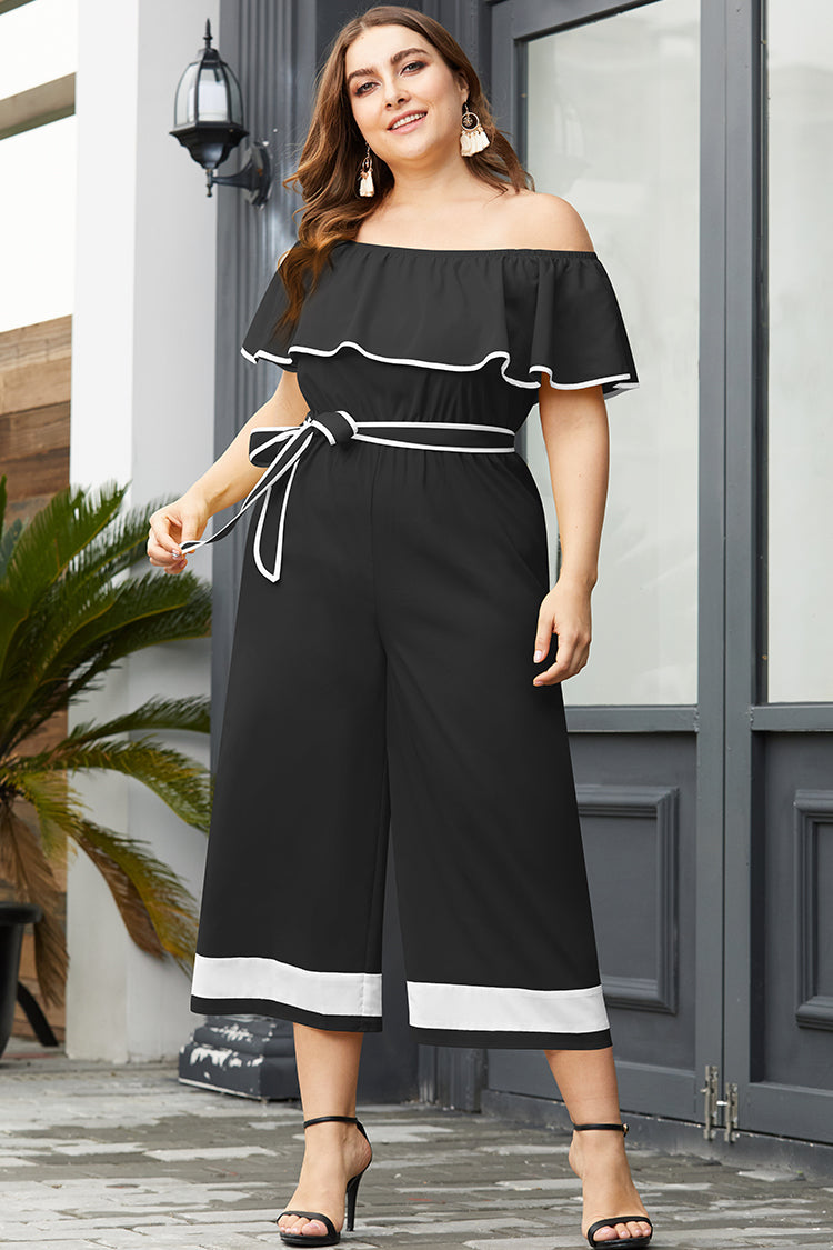 Lolglas Color Block Ruffles Jumpsuit