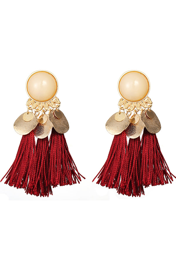 Lolglas Bohemian Cotton Tassels Alloy Earrings