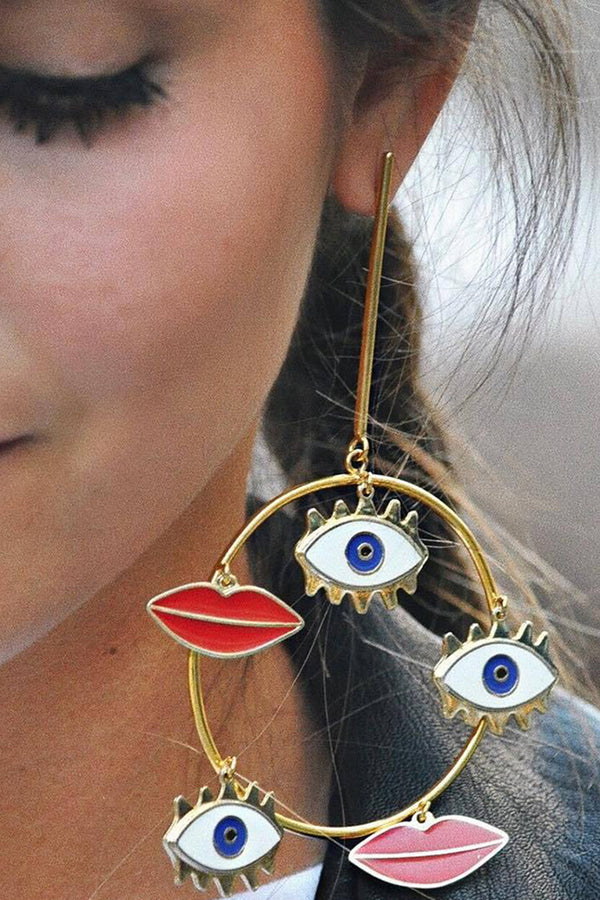 Lolglas Bohemian Eyes and Red Lips Earrings