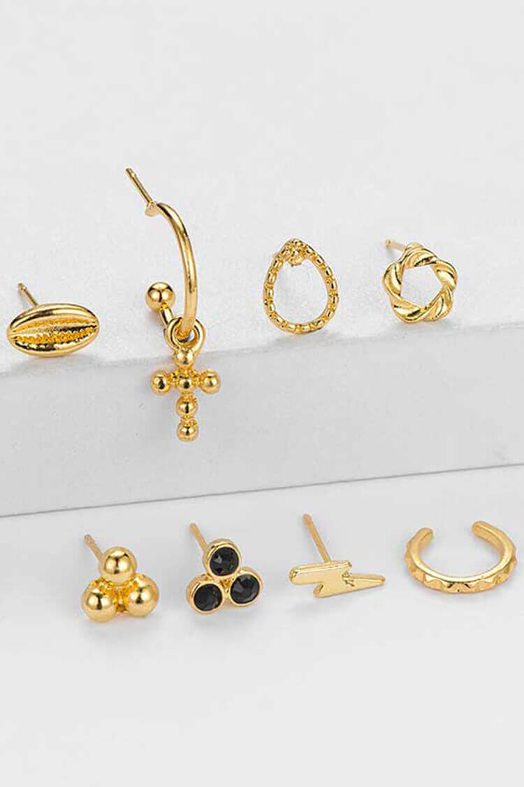 8-piece Boho Cross Shape Decor Earring Set