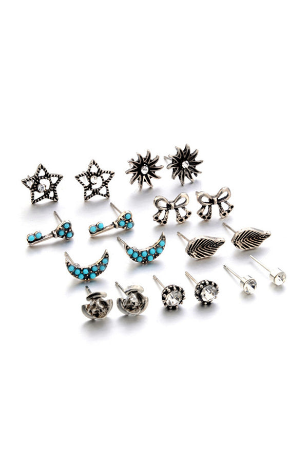 9-pair Bowknot&Geomery Earring Set
