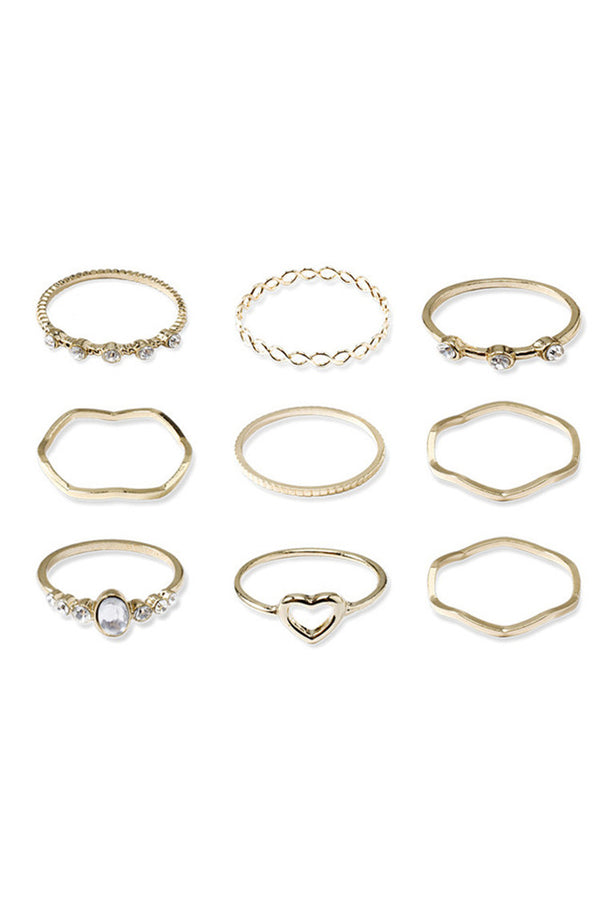 9-piece Geomery&Heart Shape Ring Set