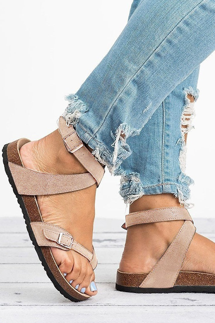 Lolglas Faux Leather Wrap Thong Sandals