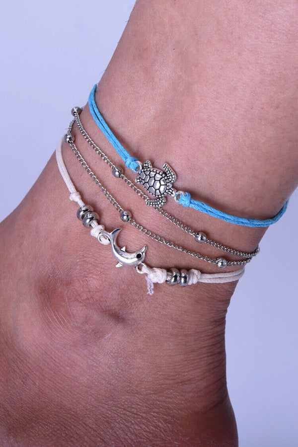 3-pieces Bohemian Stylish Dolphins Layers Anklet Set