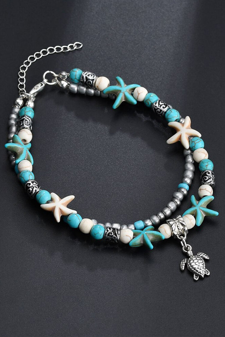 Bohemian Turquoise Marine Organism Decor Anklet