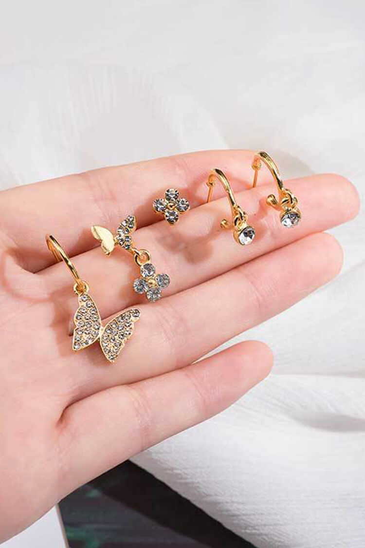Butterfly Rhin Stone Golden Earring Set
