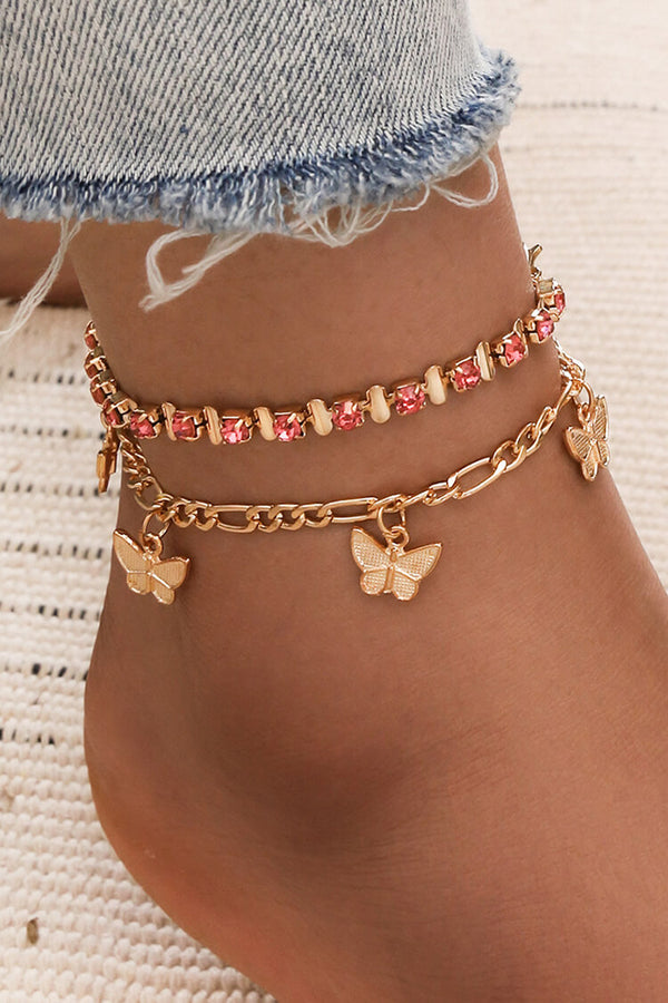 Butterfly Tessle Rhin Stone Anklet Chain
