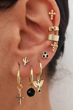 Cactus Cross Earring Set