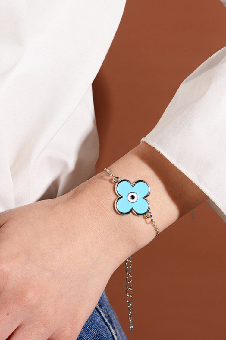 Fashionable Devil Eye and Clover Bracelet