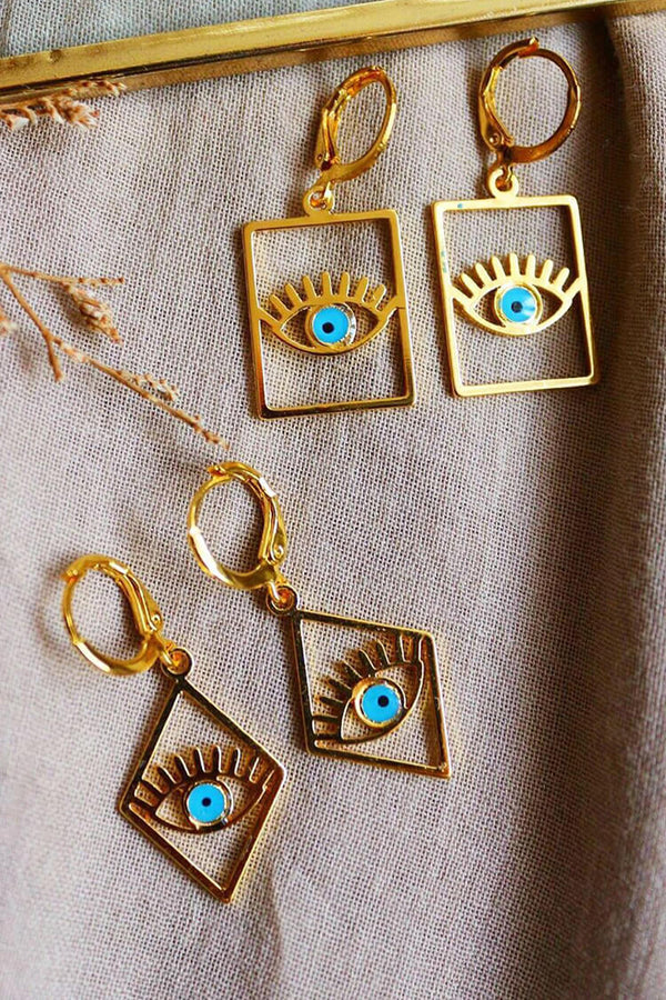 Geometry Blue Eye Shape Trendy Earrings