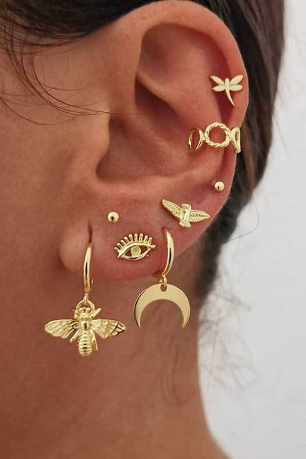 Golden Devil Eye Earring Set