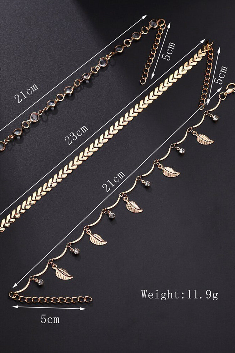 Hollow Out Leaf & Rhinestone Decor Anklet Chain