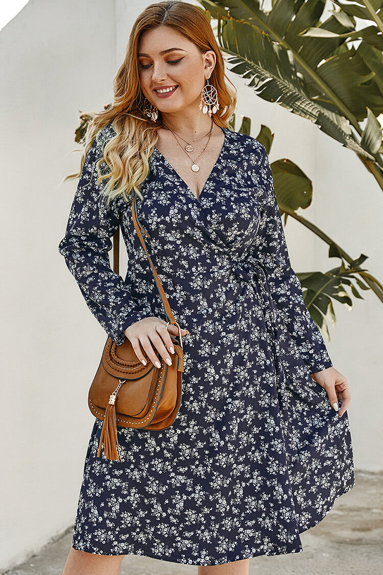 Lolglas Plsu Size Navy Floral Plunging Neck Wrap Dress