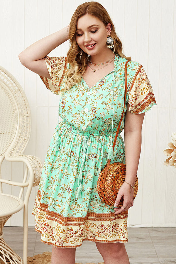 Plus Size 20s Boheimian Summer Mini Dress