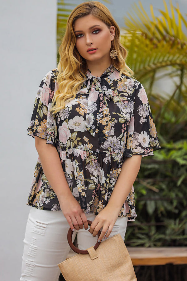 Plus Size 20s Chiffon Floral High Neck Blouse