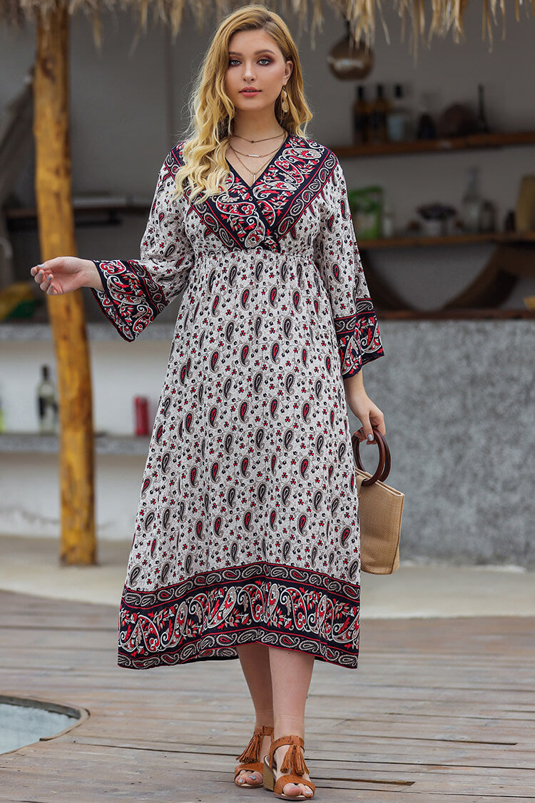 Plus Size 20s Ethnic Print Wrap Summer Dress