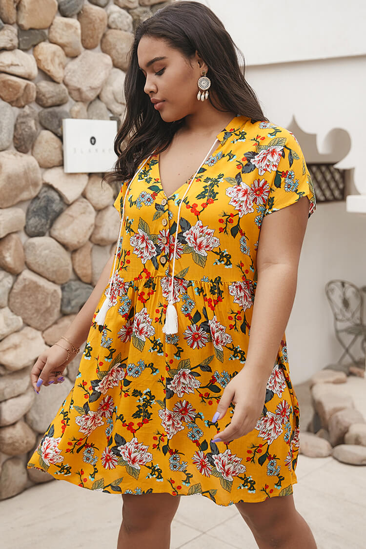 Plus Size 20s Floral Mini Dress