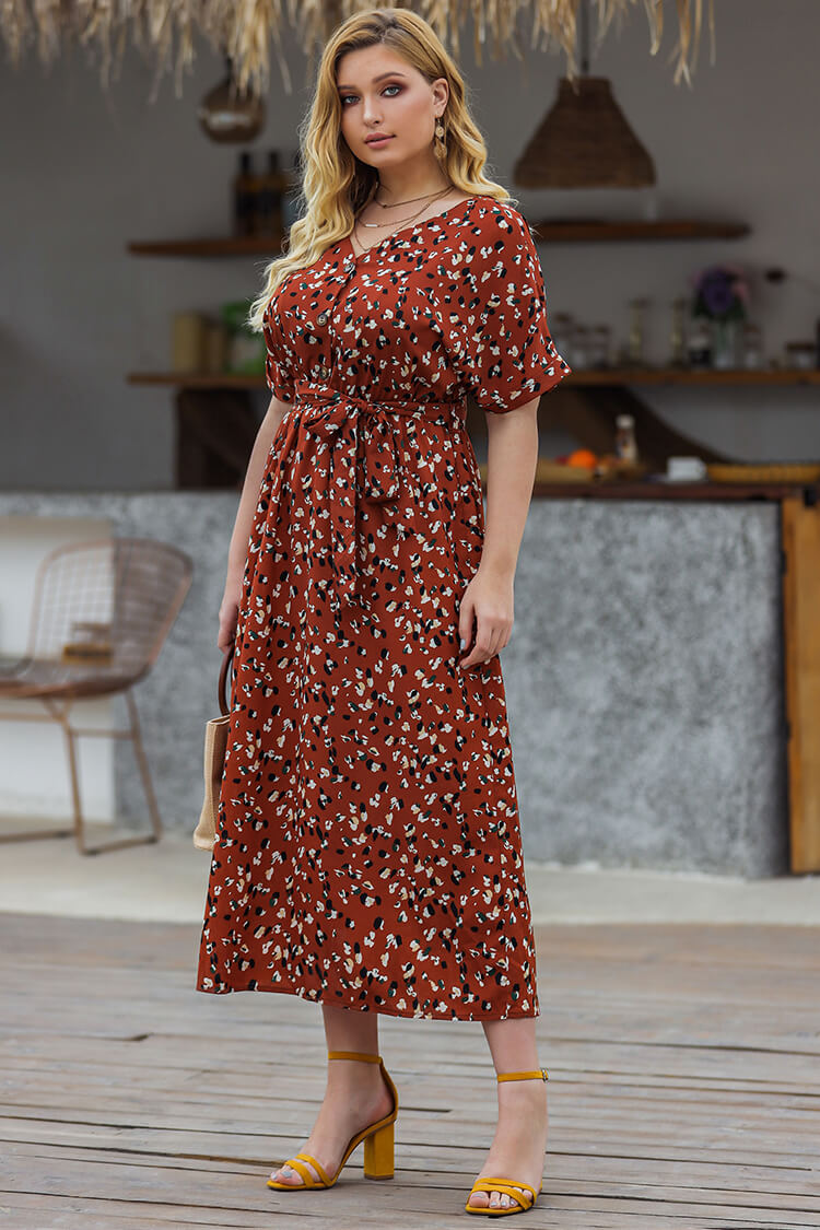 Plus Size 20s Floral Short Sleeves Maxi Dress