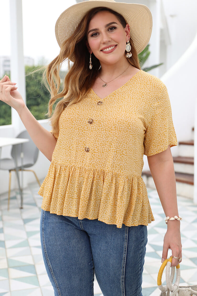 Plus Size Babydall Ruffles Floral Top